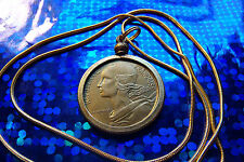 "Nice, French Brass, Classic Centimes Coin Pendant on 24"" Gold Filled Snake Chain"