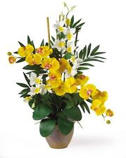 Double Phalenopsis/Dendrobium Silk Flower Arrangement- Yellow/Cream 1071-YC  NEW