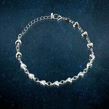 New 925 Sterling Silver Mini Hearts Bracelet Women Jewellery Valentine Gift UK