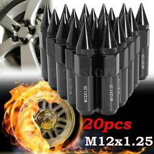 20x Aluminum M12X1.25 Wheels Rims Lug Nuts Spiked 60mm Extended Tuner Black US