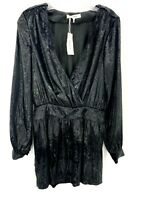 Frame Womens Sz 2 Black Metallic Velvet Mini Dress Mock Wrap Long Sleeve NWT