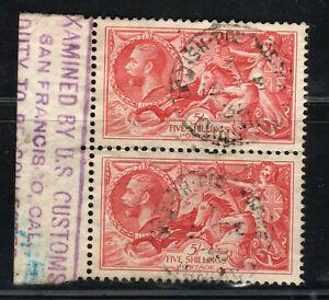 1934 GB Great Britain SC 223 Reengraved Waterlow & Sons 5 Shillings Carmine Pair