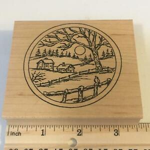 Farm Houses Barn Fence Tree Scene by Northwoods Rubber Stamp
