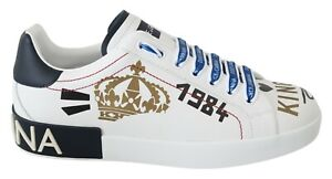 DOLCE & GABBANA Shoes Sneakers White Leather Gold Crown King Mens s. EU40 / US7