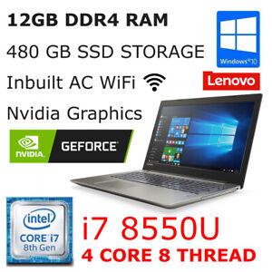 Lenovo 15 Inch Laptop + Nvidia Graphics   i7 8550U + 12GB DDR4 RAM + 480GB SSD