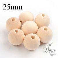 20 x 25mm wood beads natural wooden ball unpainted round jewellery findings