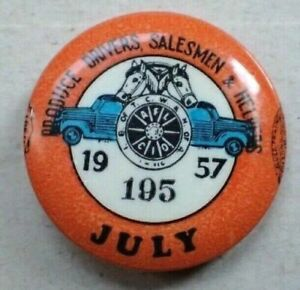Vintage Union Button/Pin-Produce Drivers Salesmen & Helpers 1957- IB of TCW of A