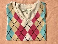 Liz Claiborne Women's Argyle Golf Sweater; Med; Blue White Pink