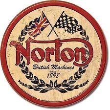 Norton - Logo Round Tin Sign 30 X 30cm Retro Decor Wall Art Cafe Bar Restaurant