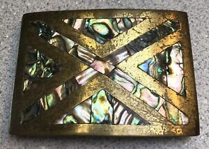 Vintage Mexican Abalone Shell Belt Buckle