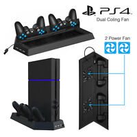 Vertical Stand For PS4 Cooling Fan Controller Charging Station PlayStation 4 NEW