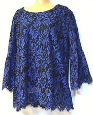 plus sz XL / 24 VIRTU TS TAKING SHAPE Blue Story Top lacy sexy lined NWT rp$110!