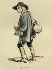 1842 man anisodactyle Beauce french peasant print engraving aquarellée era