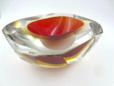 Gigantesco! MURANO SOMMERSO Ovale Sfaccettato Rosso & Ambra GEODE Art Glass Bowl 1.6KG