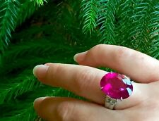BIG 11.77TCW PLATINUM Natural Rich Raspberry transparent RUBELLITE Diamonds Ring