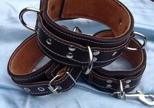 Handmade Padded English Leather Wrist Ankle cuffs & Collar CO73