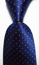New Classic Polka Dot Dark Blue Orange JACQUARD WOVEN Silk Men's Tie Necktie
