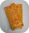 Vintage retro Stevens Utica Fine Arts Collection 2 Hand Towels orange yellow USA