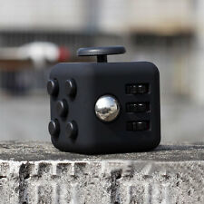 1PCs Full Black Fidget Cube 6-side Toy Anxiety Stress Attention Relief A+