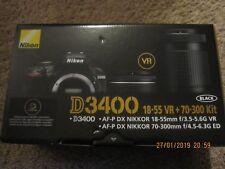New Nikon D3400 24.2MP Digital SLR Camera K Black Kit 18-55mm and 70-300mm Lens