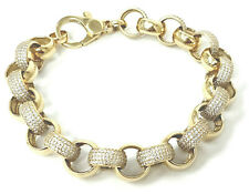 Gold Belcher Bracelet 9ct Yellow Cubic Zirconia 12.5mm Wide 42.6g 9 Inches