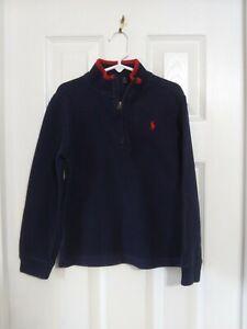 Boys Ralph Lauren Navy Blue Red 1/4 Zip Pullover Long Sleeve Sz 6 or 7