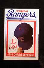 1991 Texas Rangers Goody Pocket Schedule