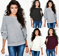 Ladies New Stylish Amelia Oversized Rib Knit Batwing Jumper Bohoo UK size 8-26