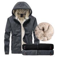 Herren Dicker Mantel Warm Fleece Hoodie Zip Up Jacke Gefüttert Sherpa Outwear