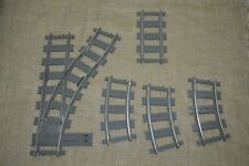 Lot of  Lego Light Gray Train Tracks Curved Straight Switch