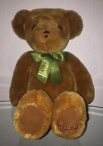 "Harrods 16"" Brown Teddy Bear Plush Stuffed Animal Green/ Gold Ribbon"