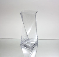 """Wholesale Clear Twisted Block Square Glass Vase 4"""" Opening x 10"""" Height (12pcs)"""