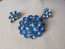 WEISS Vintage Blue Rhinestone Pin & Earring Set