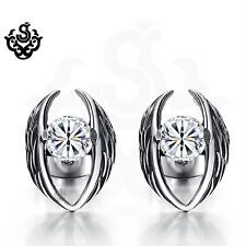 Silver stud made with clear swarovski crystal earrings soft gothic 0.5ct