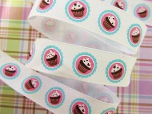 """10 yards Cute Cupcake Stamp Grosgrain 7/8"""" Ribbon/Craft/Party Bow R86-White"""