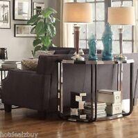 Black Metal Sofa Table Modern Glass Chrome Chic Side End Hallway Console Home