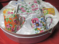 NEW!! SIX CERMAIC CHINTZ STYLE FLORAL PATTERN DEMITASSE ESPRESSO CUP & SAUCER