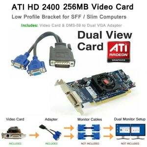 DMS-59 LOW Profile Video Card With DMS-59 To Dual VGA Combo Pack (DUAL SCREEN)