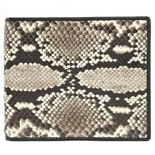 PKK Men's Bifold Wallet Genuine Python SnakeSkin Exotic Leather Natural USPT034