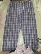 "Mens George size Medium 33-35"" long pyjama bottoms blue grey check elasticated"
