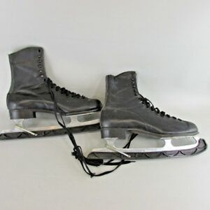 VTG ICE SKATES BLACK SIZE 10 BAUER CANADA  CLUB CAPRI  FIGURE MENS w/guards