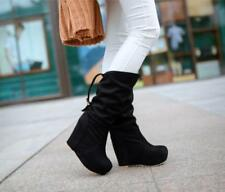 Womens Wedge Heel Mid Calf Boots Platform Buckle Pull On Shoes Winter New Size