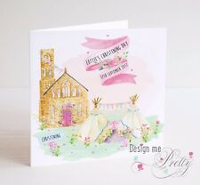 PERSONALISED Girls Church And Teepee Christening Card - Granddaughter Sister
