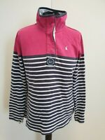 O112 WOMENS JOULES BLUE PINK STRIPE LONG SLEEVE BUTTON NECK JUMPER UK L 12