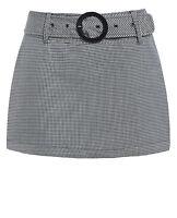 Mujer VICHY faldas Pata De Gallo Mini Corto Falda Fiesta Talla 8 10 12 14 Negro