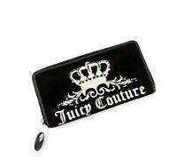 JUICY COUTURE Womens Black Velour Velvet Zip Around Embroidered Wallet