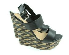Charming Charlie Women Shoes High Wedges SZ 9 Black Cork Platform Strap Diamond