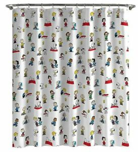Peanuts Gang RED BARON SNOOPY CHARLIE BROWN LINUS LUCY Shower Curtain *OPEN BOX*