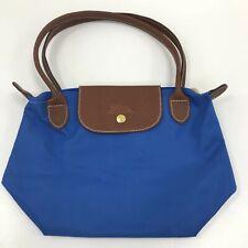 Longchamp Tote Handbag Blue Fabric Lightweight Foldaway Everyday Bag 291824