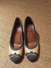 Dries Van Noten Tan Embriodered Satin platform shoes size 38